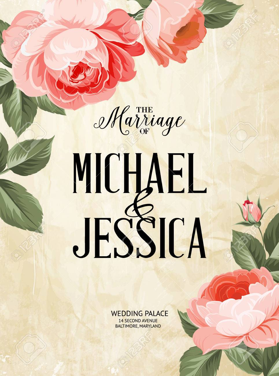 the marriage card wedding invitation card template frame of red flowers in vintage style