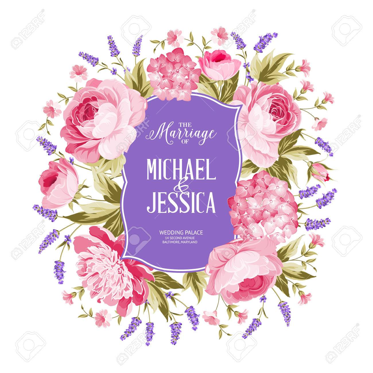 Marriage Invitation Card. Spring Flowers Bouquet Of Rose, Peony ...