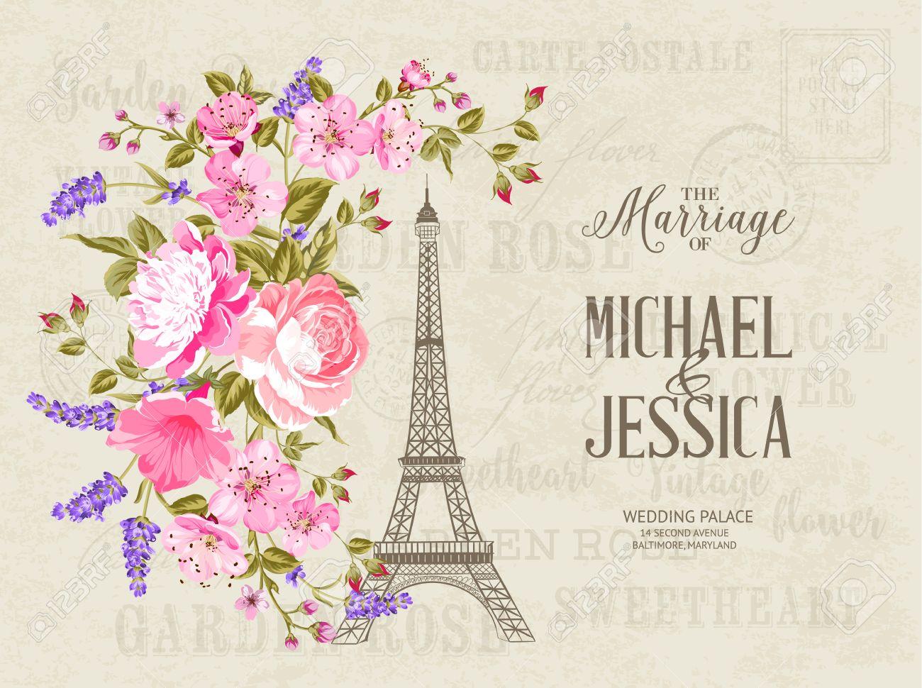 La Tarjeta De Matrimonio Plantilla De Tarjeta De Invitación De La Boda Simbol Torre Eiffel Con La Primavera Que Florece Las Flores Sobre El Modelo
