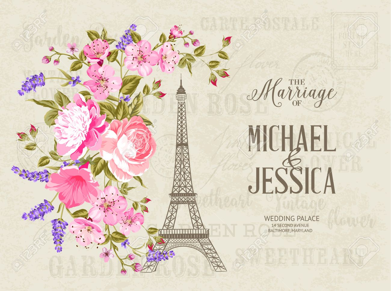 The marriage card wedding invitation card template eiffel tower wedding invitation card template eiffel tower simbol with spring blooming flowers stopboris Image collections