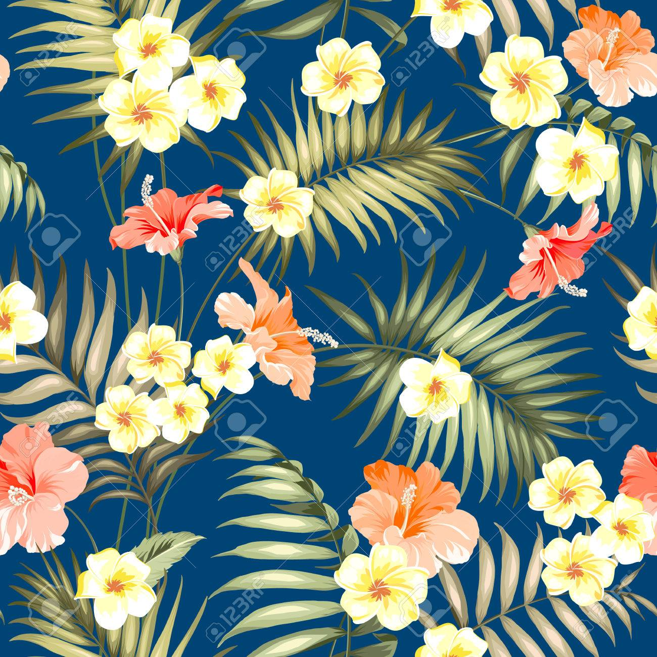 Tropical Plumeria And Jungle Palms Beautiful Fabric Pattern Royalty Free Cliparts Vectors And Stock Illustration Image 64466744