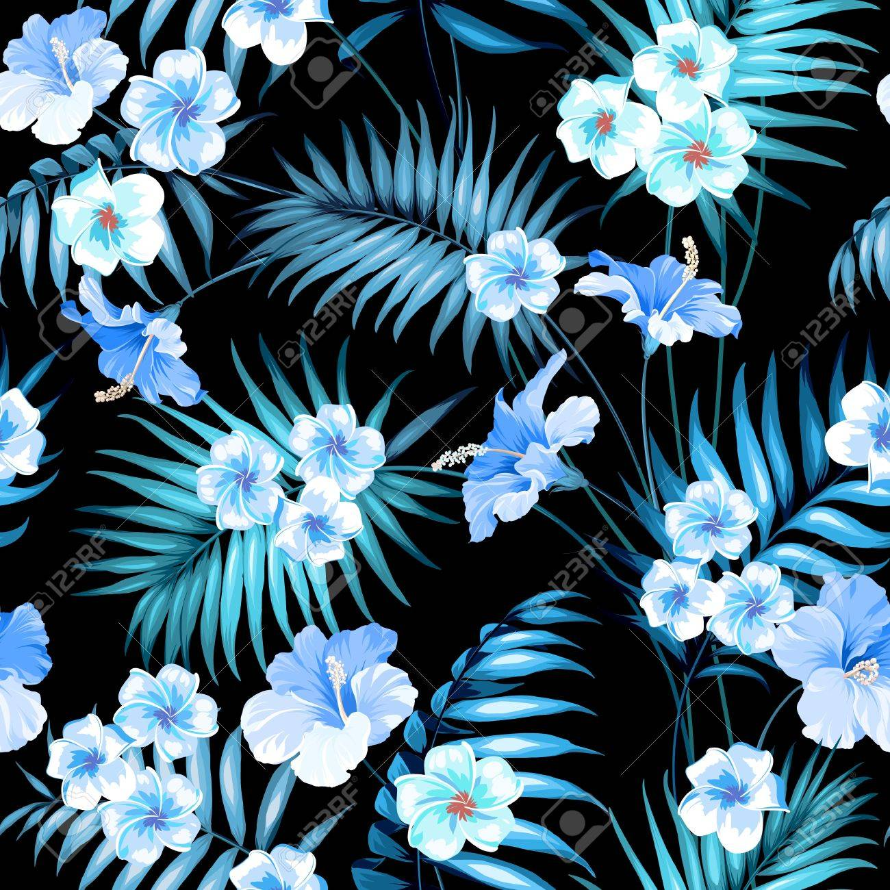 Tropical Plumeria And Jungle Palms Beautiful Fabric Pattern Royalty Free Cliparts Vectors And Stock Illustration Image 67735788