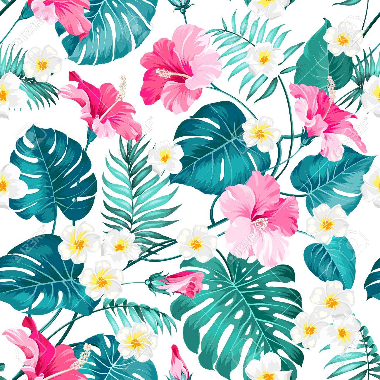 Seamless Tropical Flowers And Jungle Palms Beautiful Fabric Royalty Free Cliparts Vectors And Stock Illustration Image 67735807
