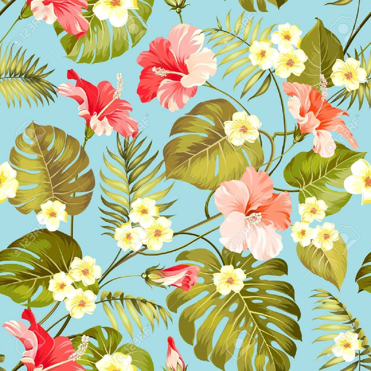 Tropical plumeria and jungle palms. Beautiful fabric pattern with a tropical flowers isolated over blue background. Seamless texture. Vector illustration. - 67735842