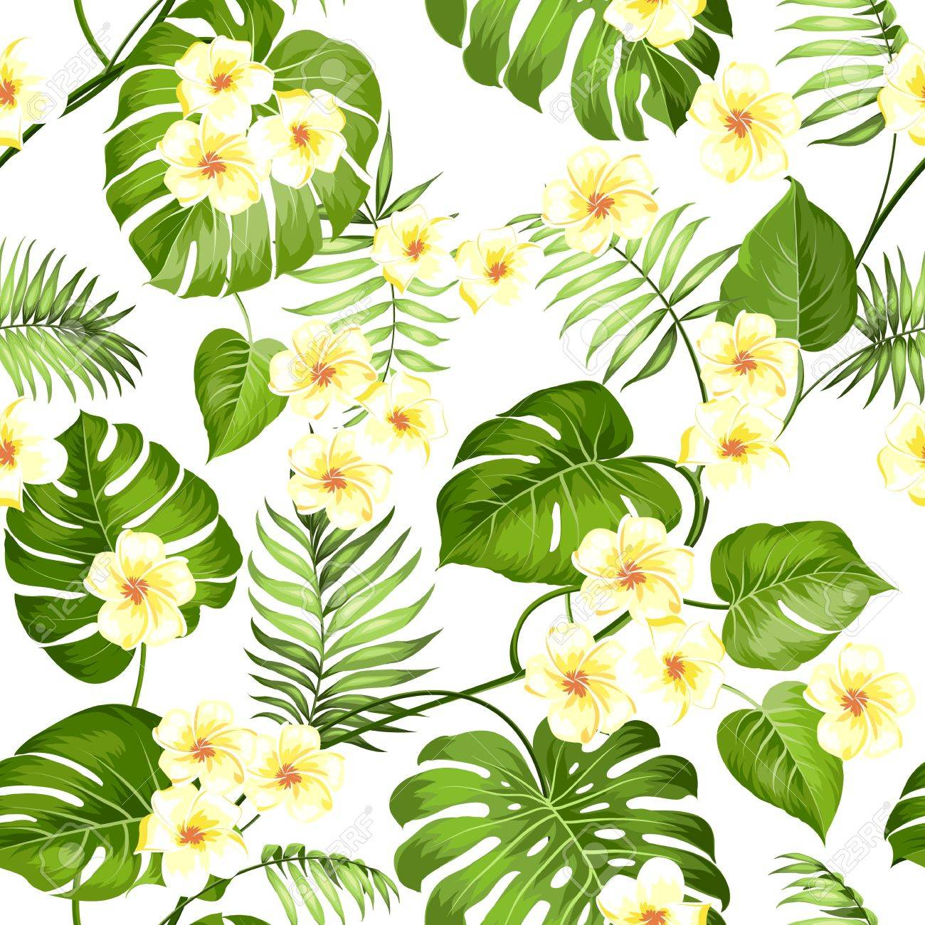 seamless tropical flower plumeria flowers and jungle palms
