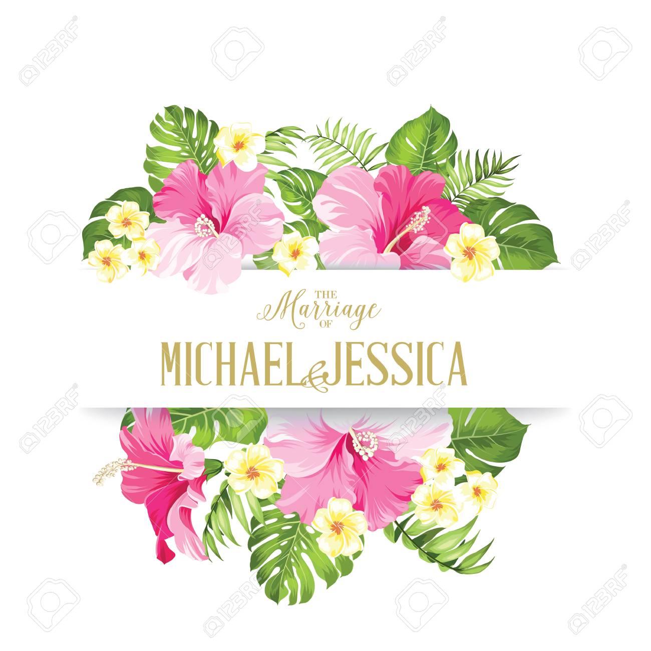 La Tarjeta De Matrimonio Modelo De La Tarjeta De La Invitación De La Boda Marco De Flores Tropicales En Estilo Vintage Tarjeta De Invitación De
