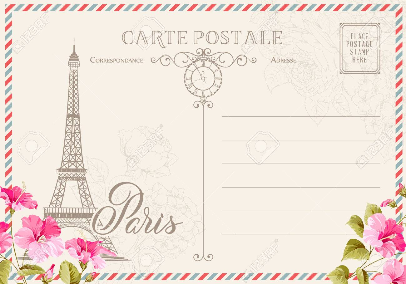 Old Blank Postcard With Post Stamps And Eiffel Tower With Spring