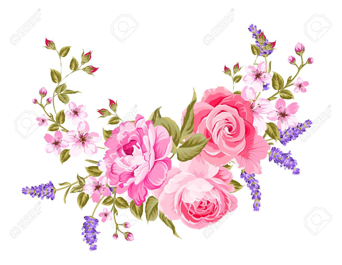 The lavender elegant card. Botanical illustration of provence lavender. Bouquet of red flowers and lavender in vintage style. Card with place for your text. Vector illustration. - 69068571