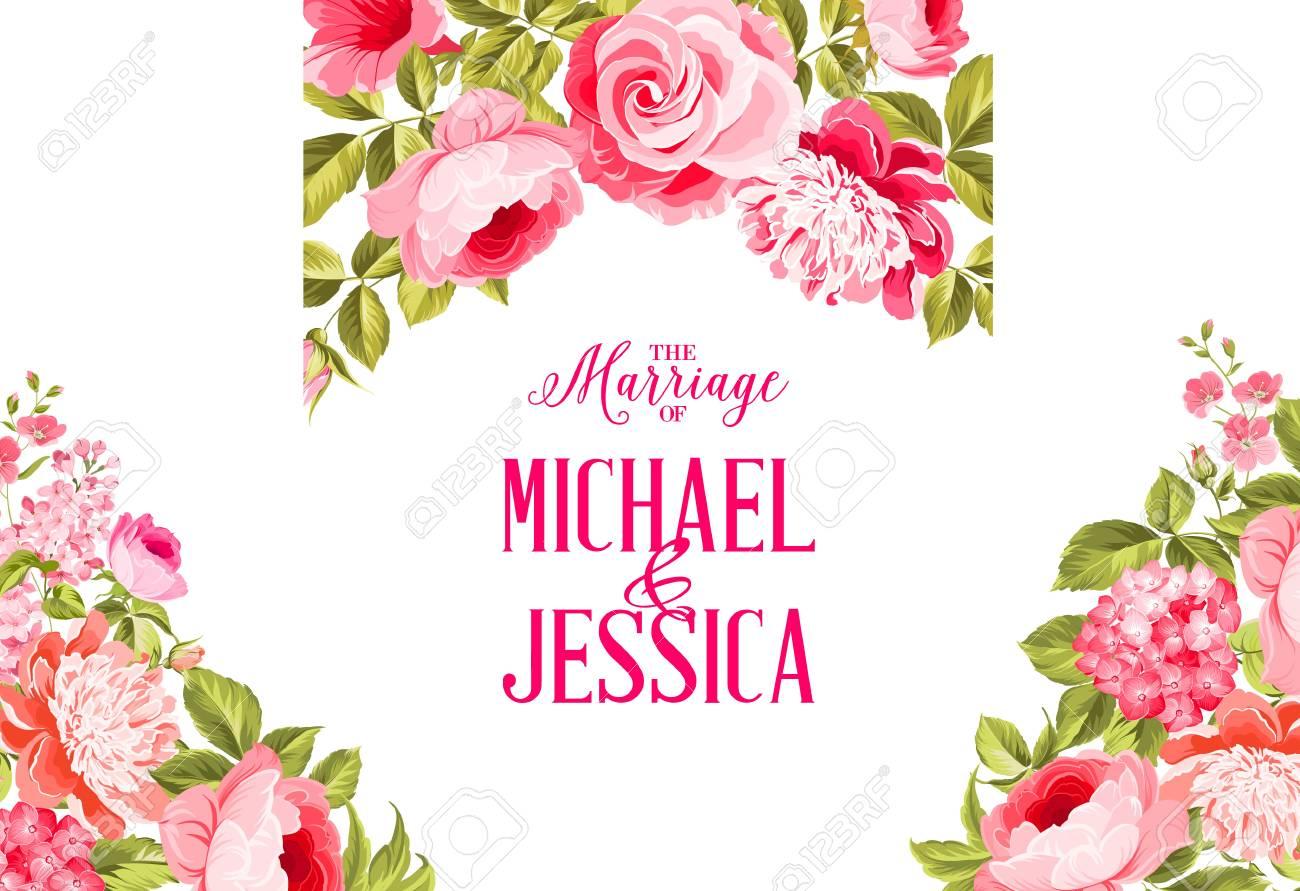 Hochzeit Einladungskarte Einladungskarte Vorlage Mit Bluhenden