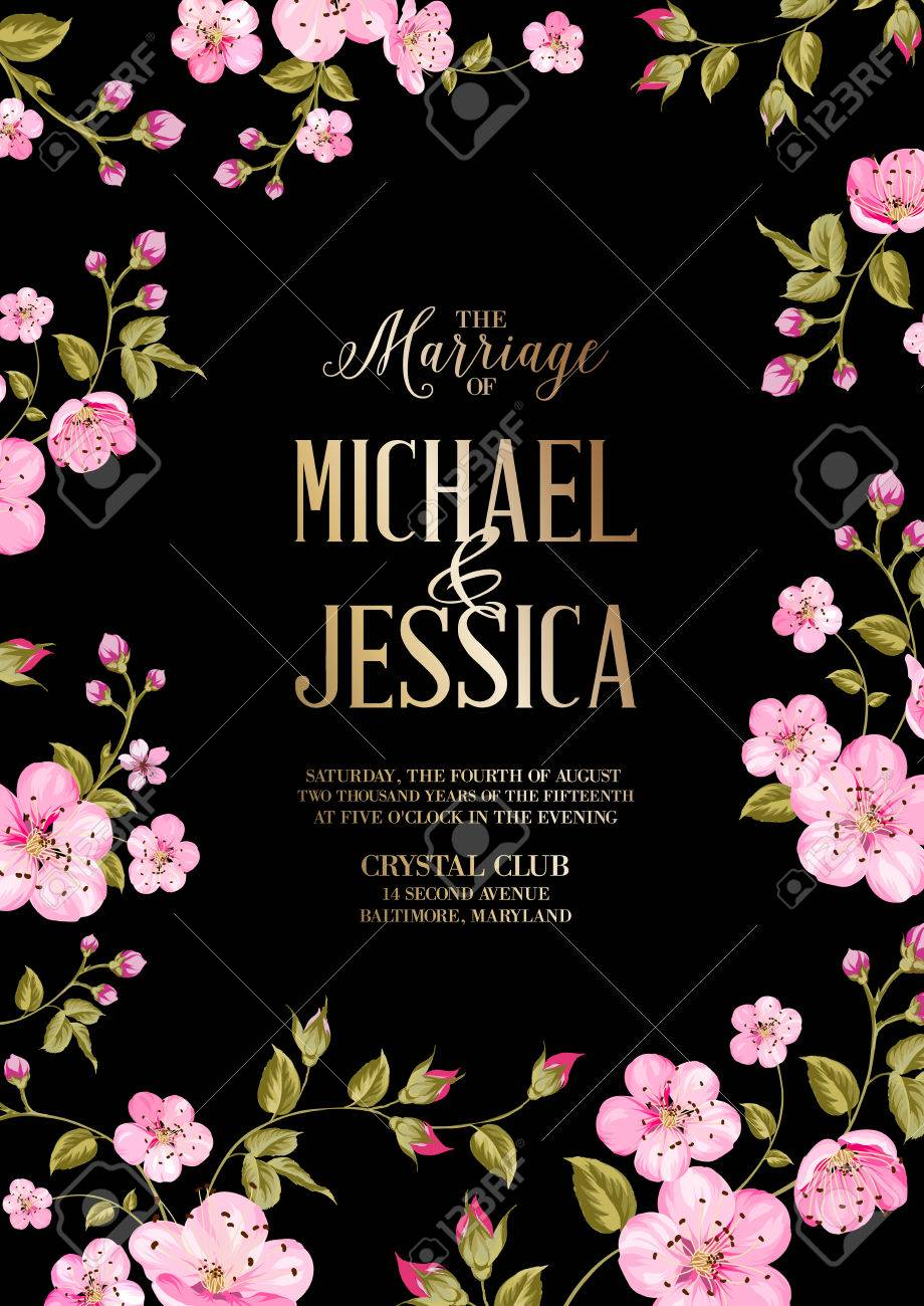 wedding invitation card template with black background spring