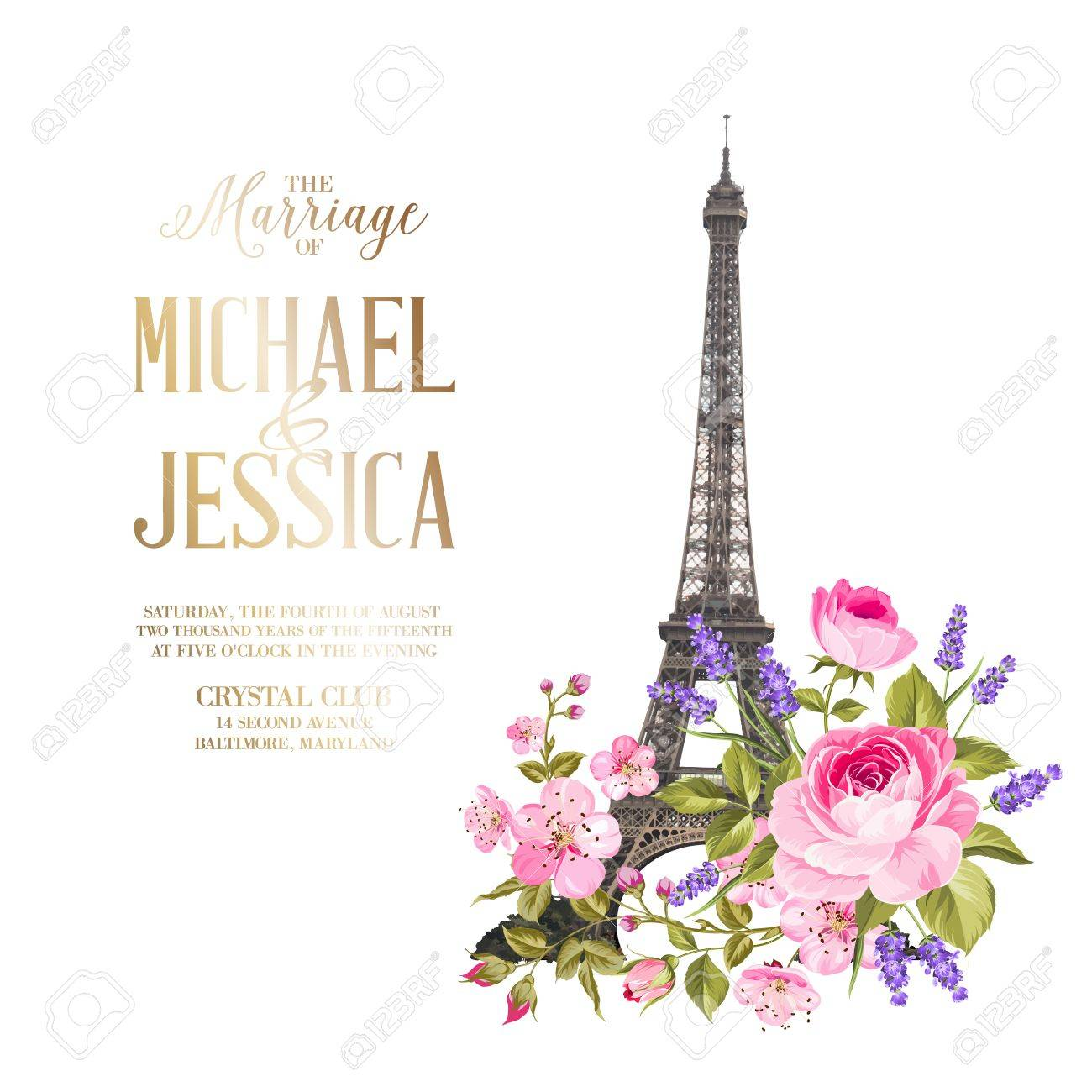 Marriage invitation card with floral garland and calligraphic marriage invitation card with floral garland and calligraphic text eiffel tower with blooming spring flowers stopboris Gallery
