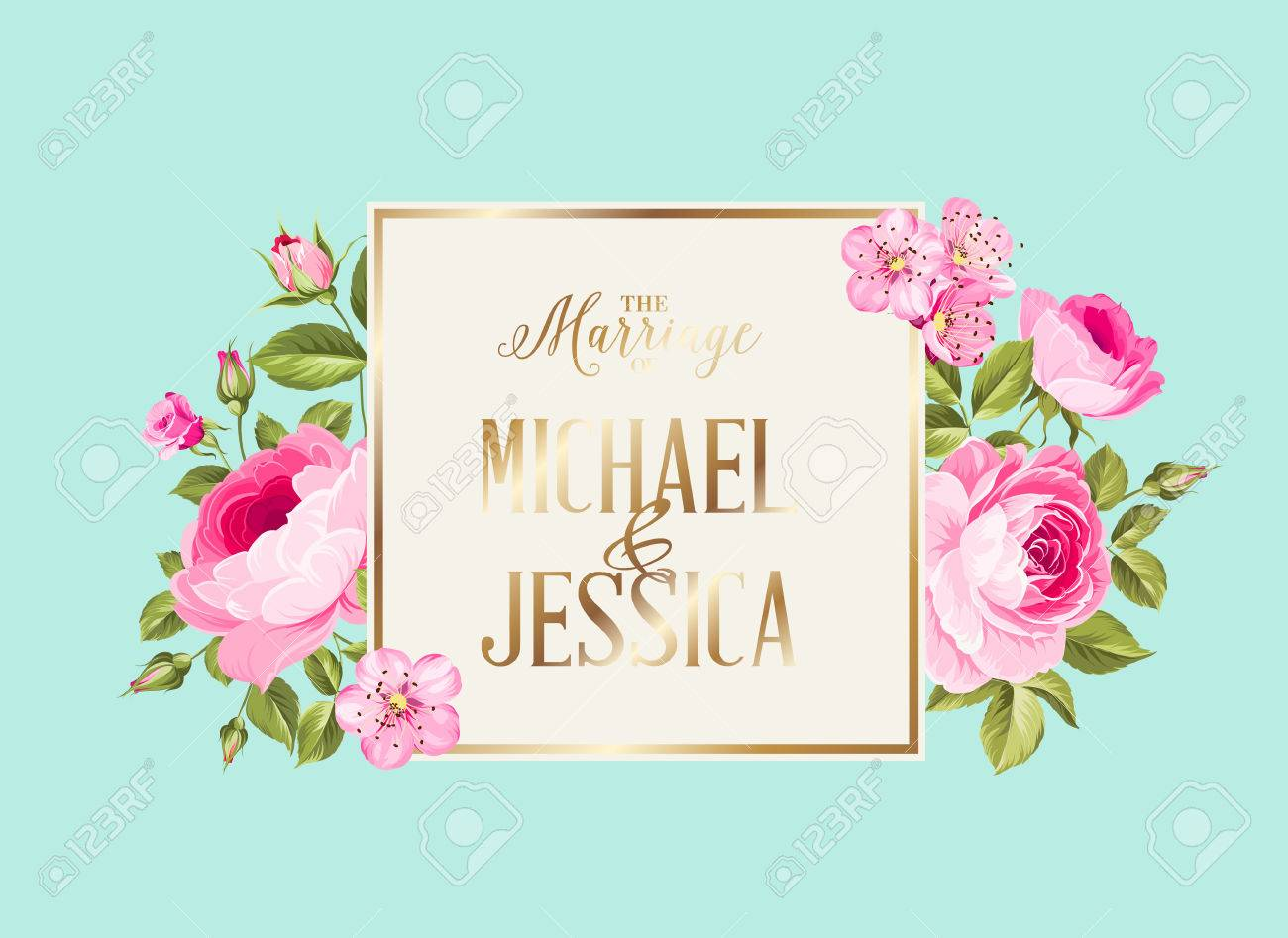 Marriage Invitation Card With Pink Flowers And Template Names