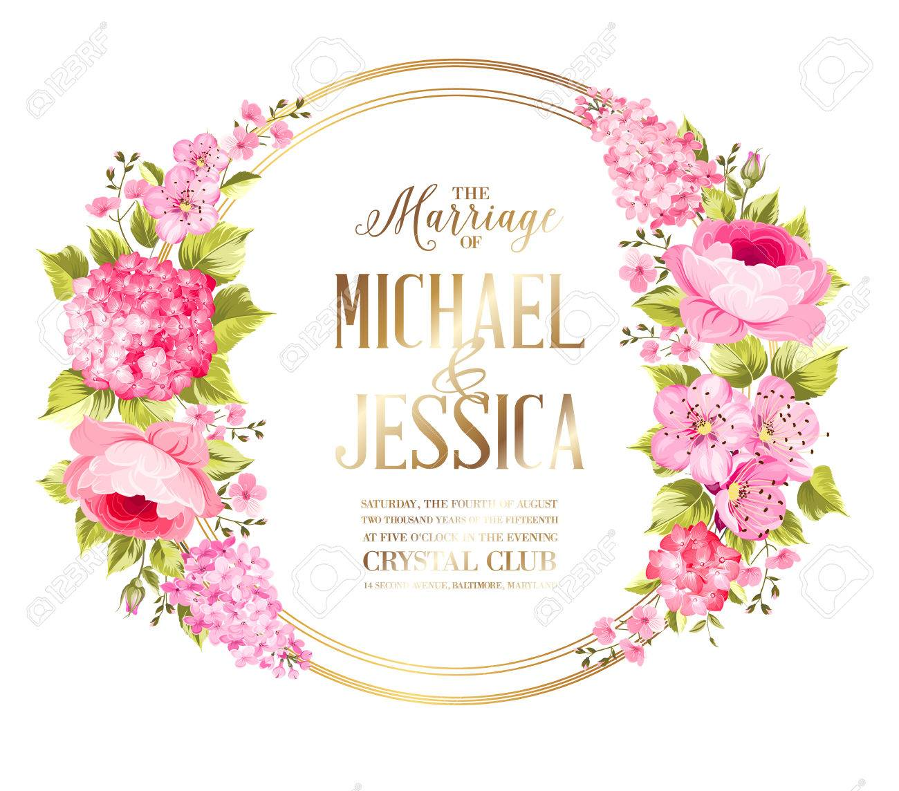 wedding invitation card with template names roses and flower