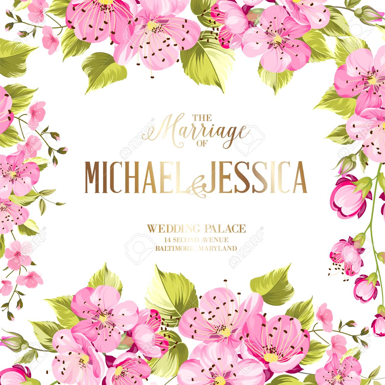 Wedding Invitation Card With Spring Flowers Vintage Wedding