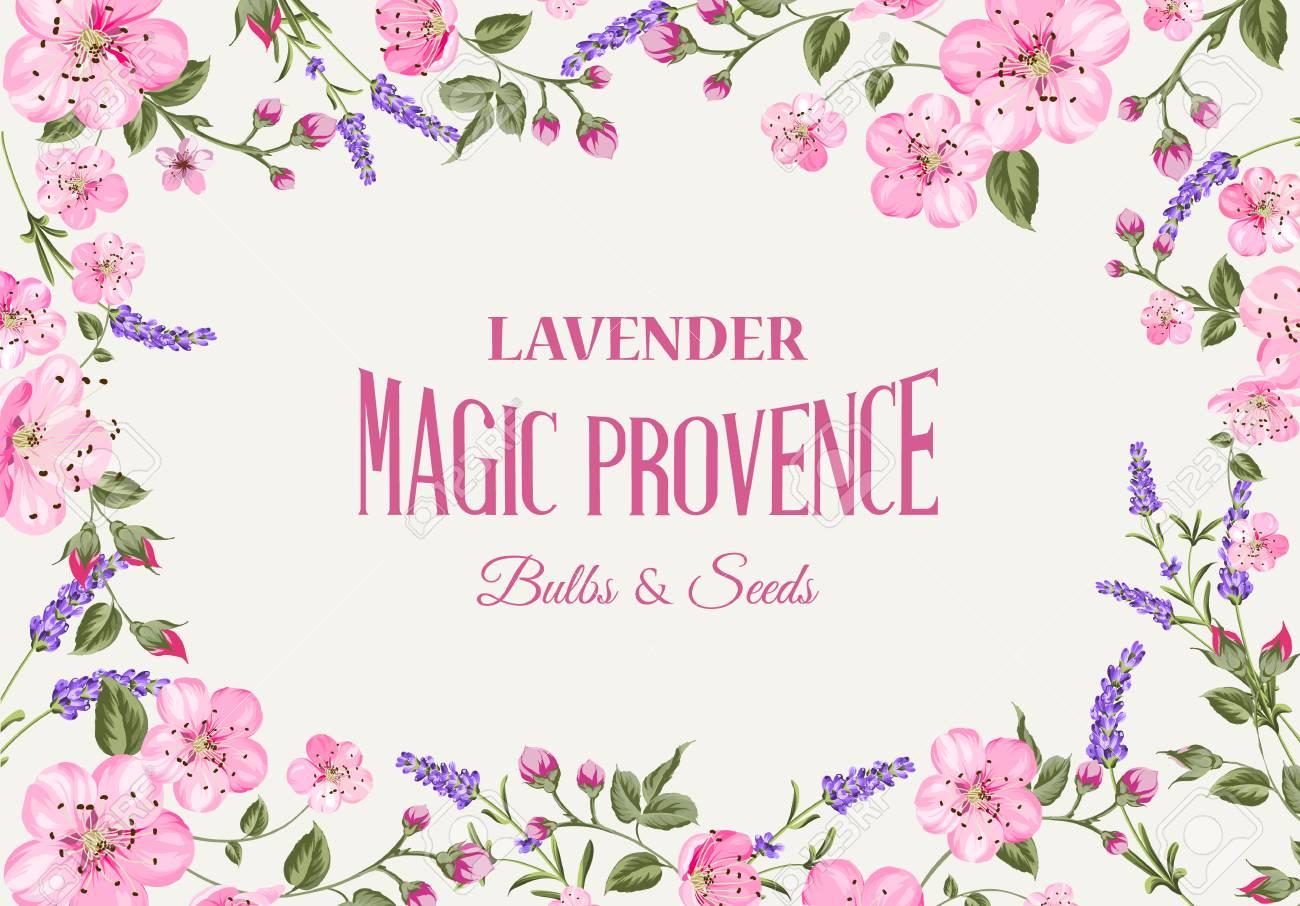 Provence Tarjeta De Memoria Con Marco De Flores Y Texto. Guirnalda ...