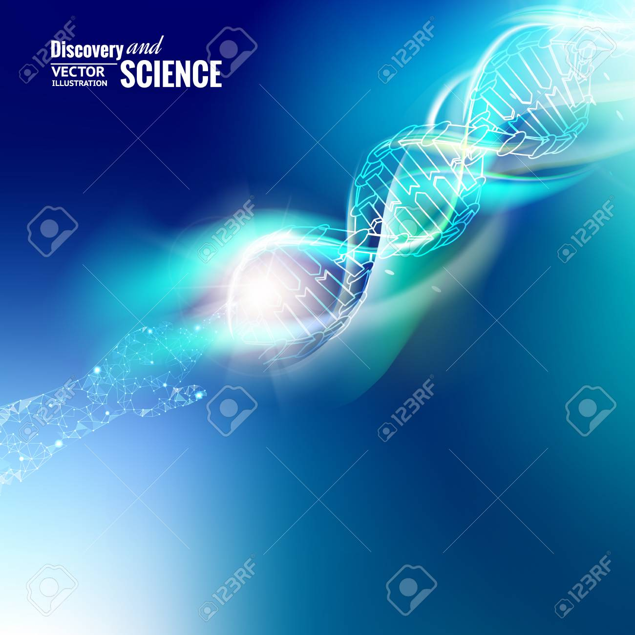 Science concept image of human hand touching DNA. Blue light abstraction of digital art. Vector illustration. - 77677140