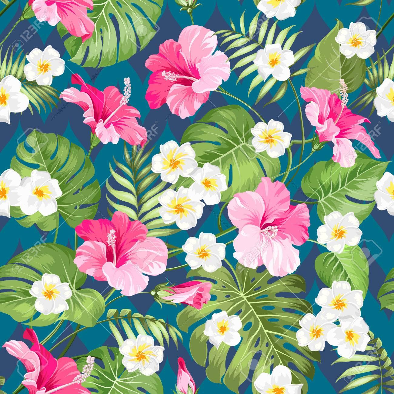 Patrón Tropical Inconsútil. Flores Del Verano Del Plumeria Y Del ...