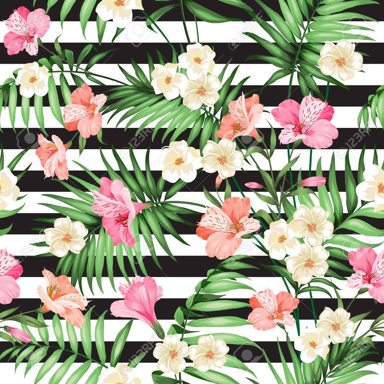 Patrón De Flor Tropical Flor De Flores Para El Fondo De La