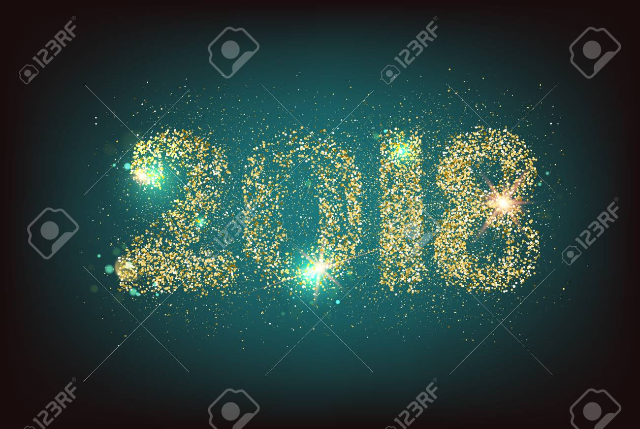 happy new year card template over dark background with golden sparks happy new year 2018