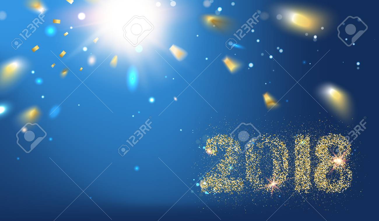 2018 New year background. Holiday label with fallen golden glitter confetti over blue backdrop. Calendar design template. - 84803181