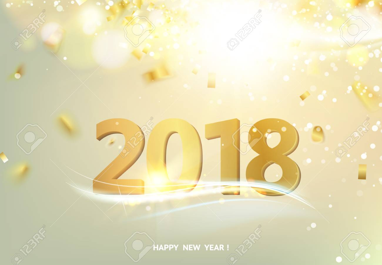 happy new year card over gray background with golden sparks happy new year 2018