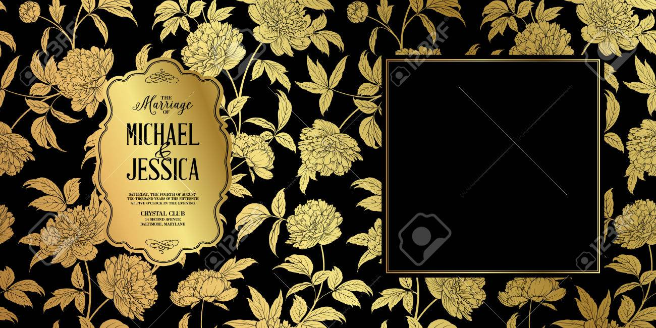 Modele De Carte D Invitation De Mariage Rustique Fleur De Pivoine Dore Avec Etiquette De Texte Isole Sur Fond Noir