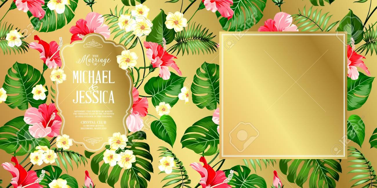 Etiqueta De Flores Tropicales Para La Invitación De Boda. Hibisco ...