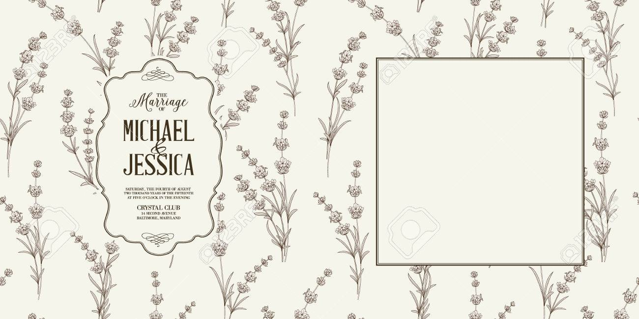 Die Lavendel-Ehekarte Mit Hintergrund Von Blumen Und Leerer Rahmen ...