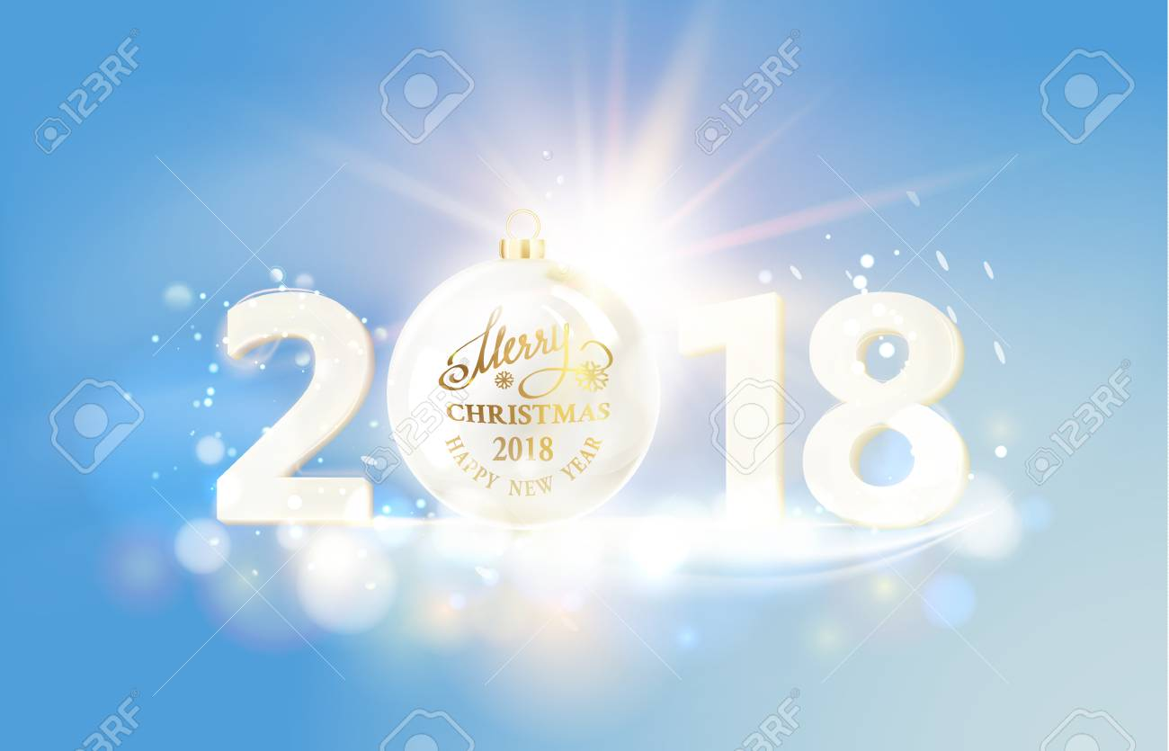 Happy New Year Card Over Gray Background With Golden Sparks ...