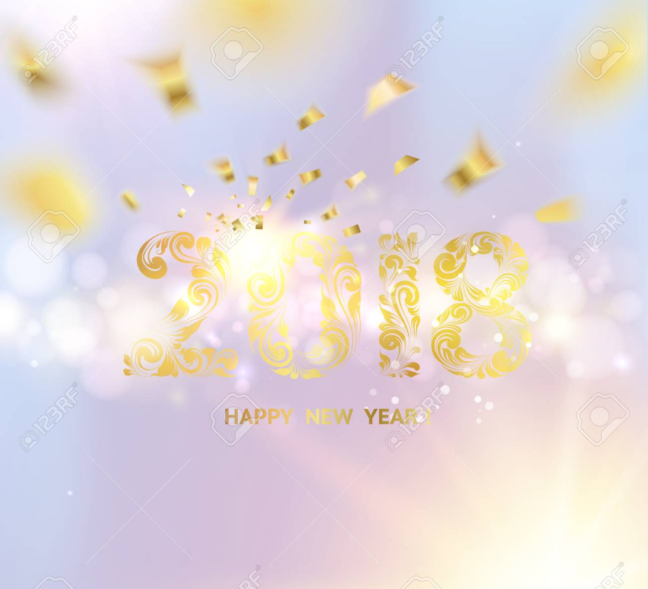 happy new year card over gray background with golden sparks