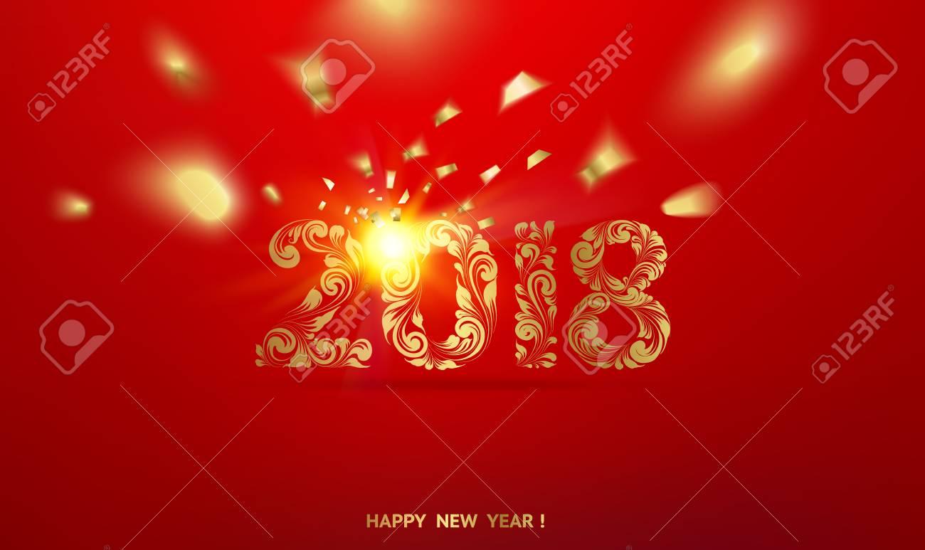 Feliz Año Nuevo Tarjeta Sobre Fondo Rojo Con Confeti Dorado. Feliz ...