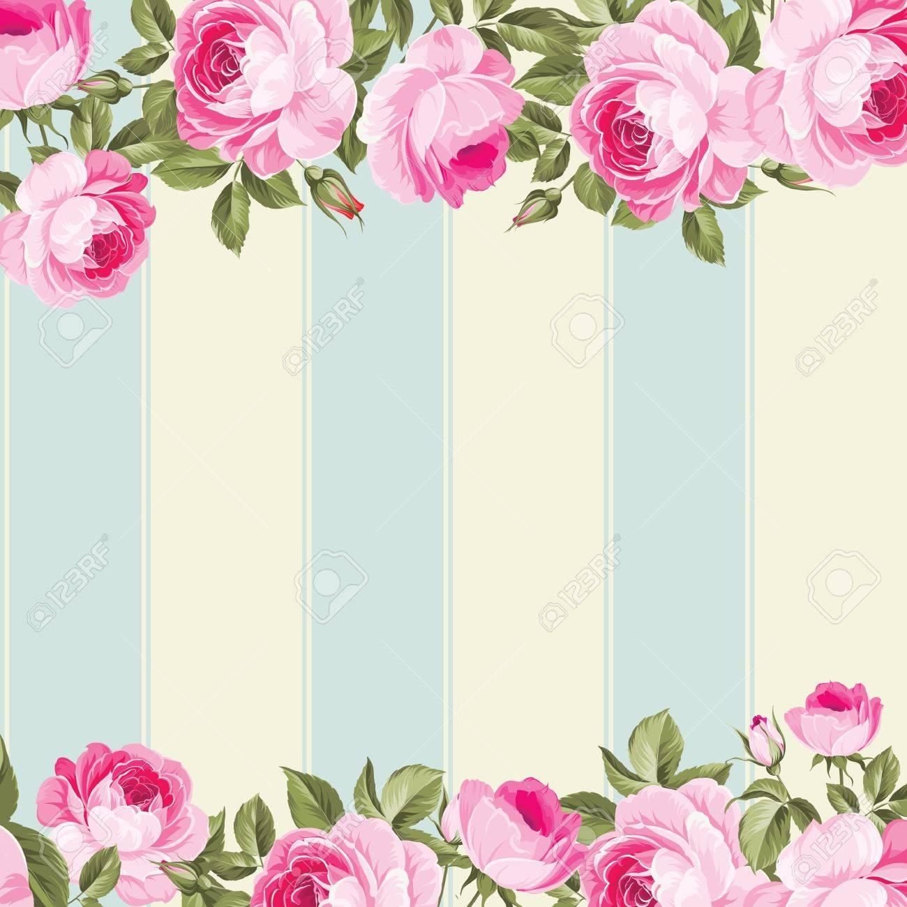 Ornate Pink Flower Border With Tile Elegant Vintage Wallpaper