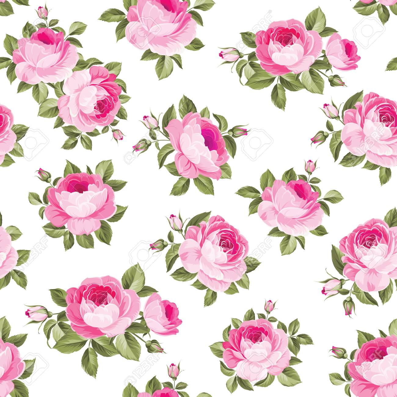 Luxurious Peony Wallpaper In Vintage Style Seamless Pattern Of Blooming Roses For Floral