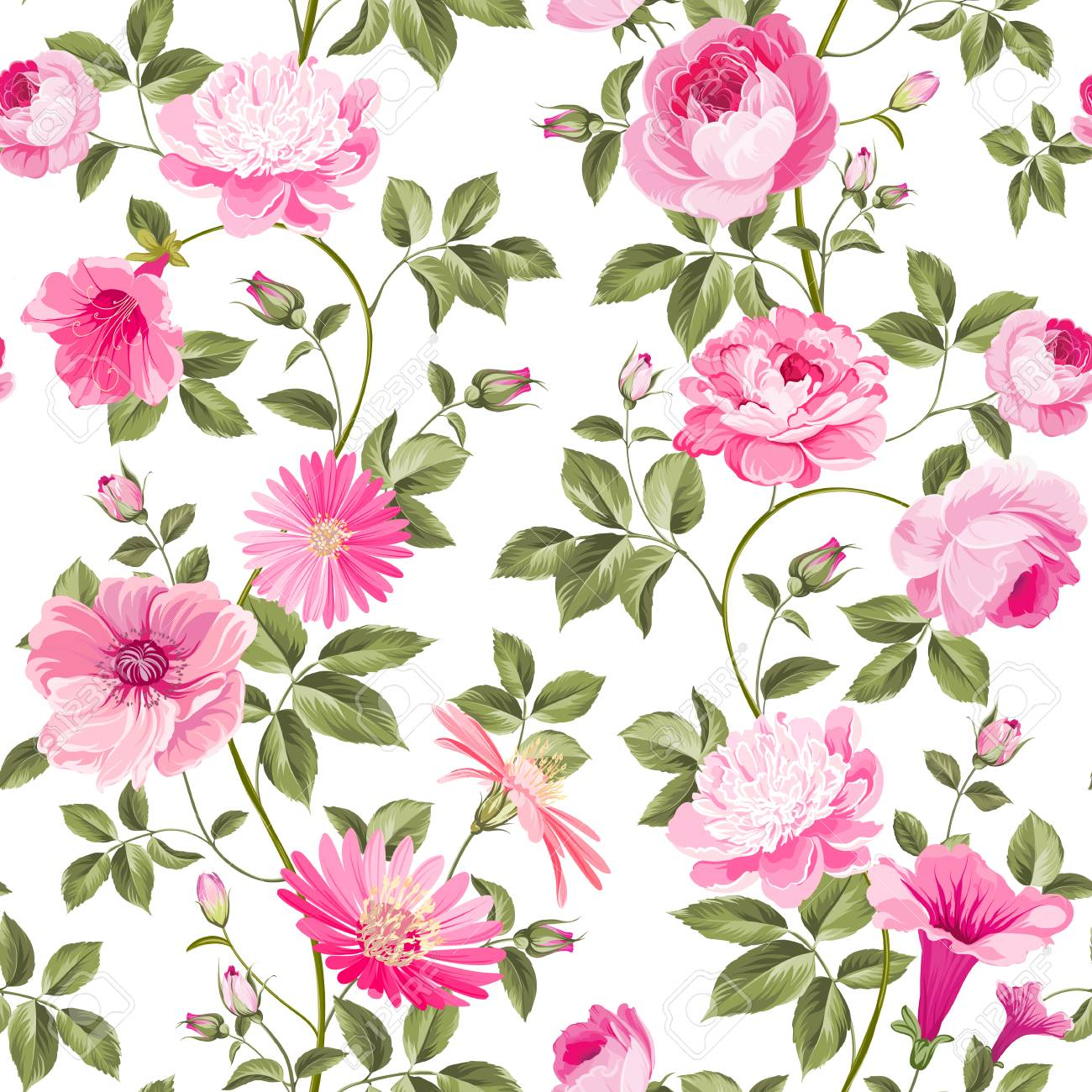 Red Roses Pattern For Wallpaper Design Retro Floral Seamless