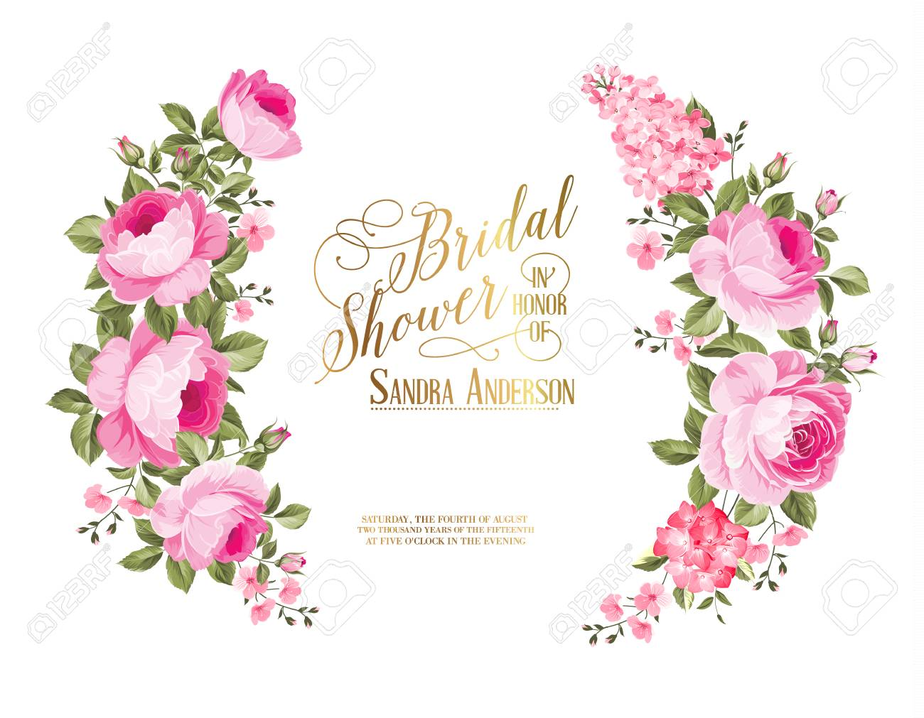 red rose flower wreath with calligraphic text for bridal shower invitation vector illustration stock