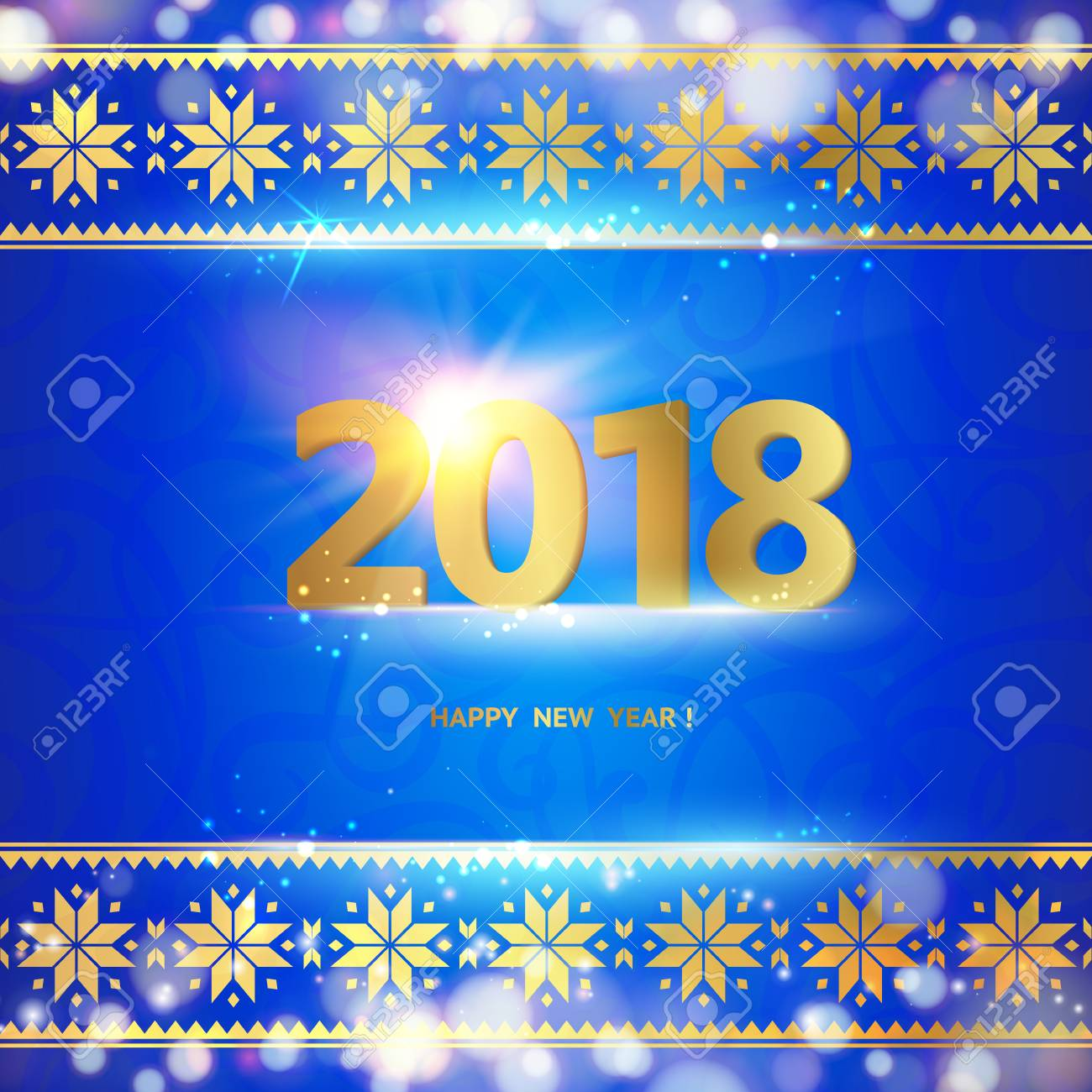 2018 year calendar design template holiday label with numbers over blue backdrop with ornamental border