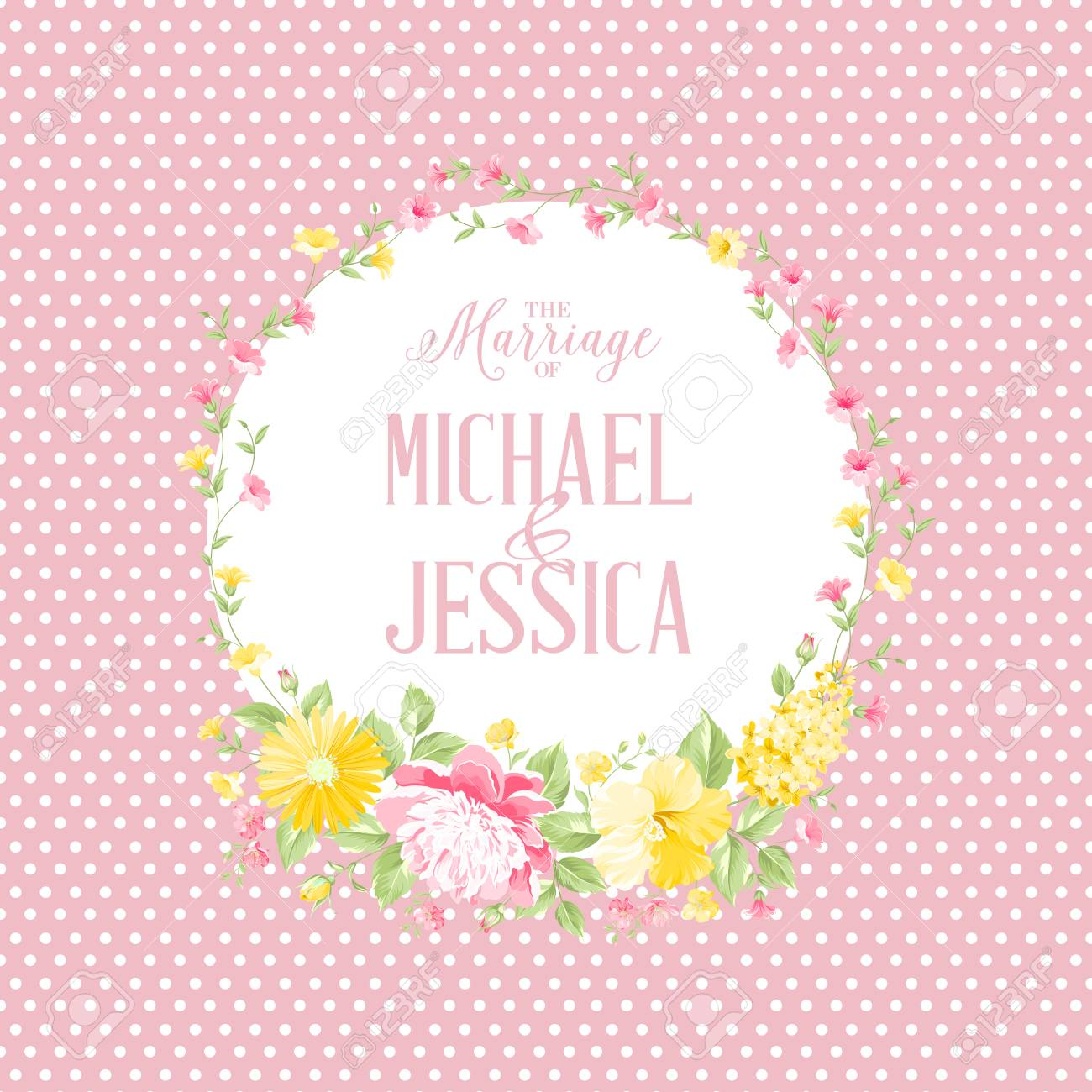 Marriage Invitation Card With Pink Flowers Modern Marriage Design