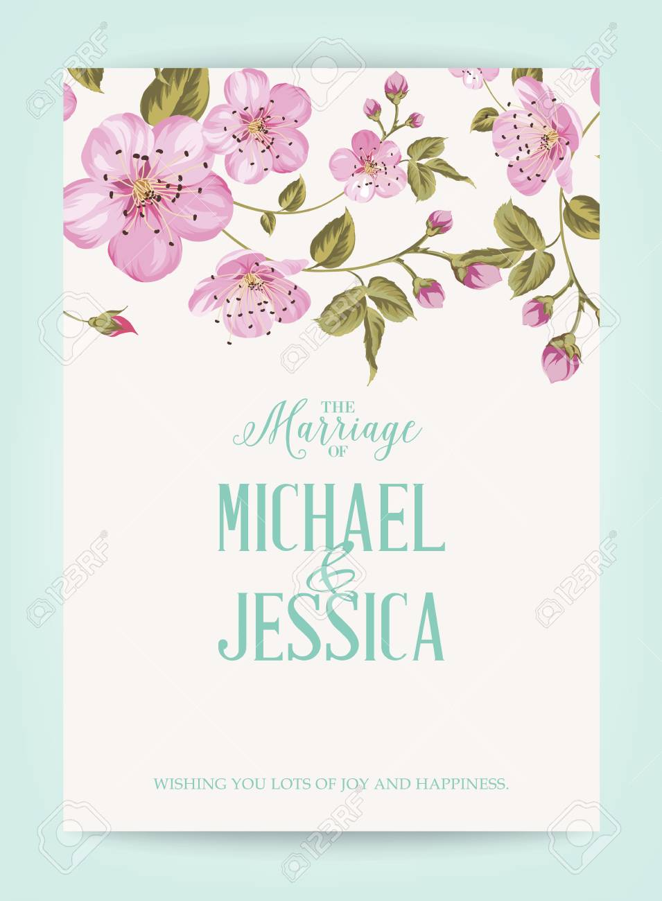 Marriage Invitation Card With Pink Flowers Vintage Wedding Card