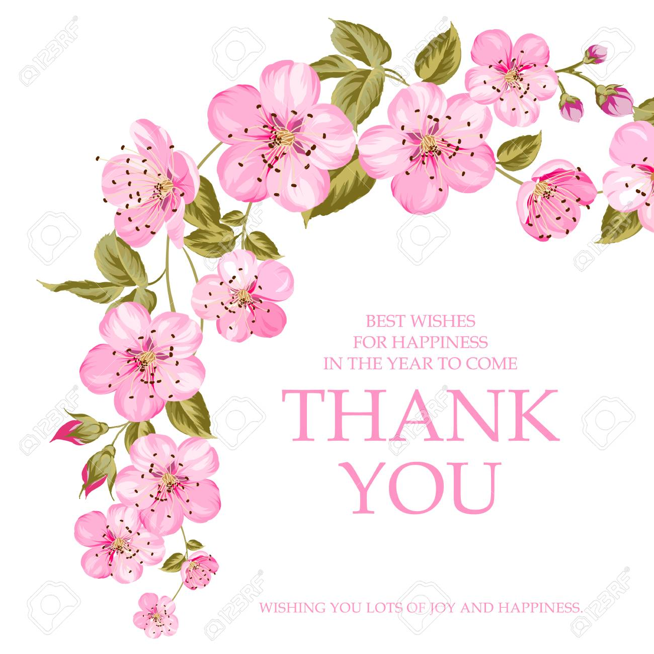 Invitation text card with thank you sign pink flowers garland invitation text card with thank you sign pink flowers garland at the top of holiday mightylinksfo
