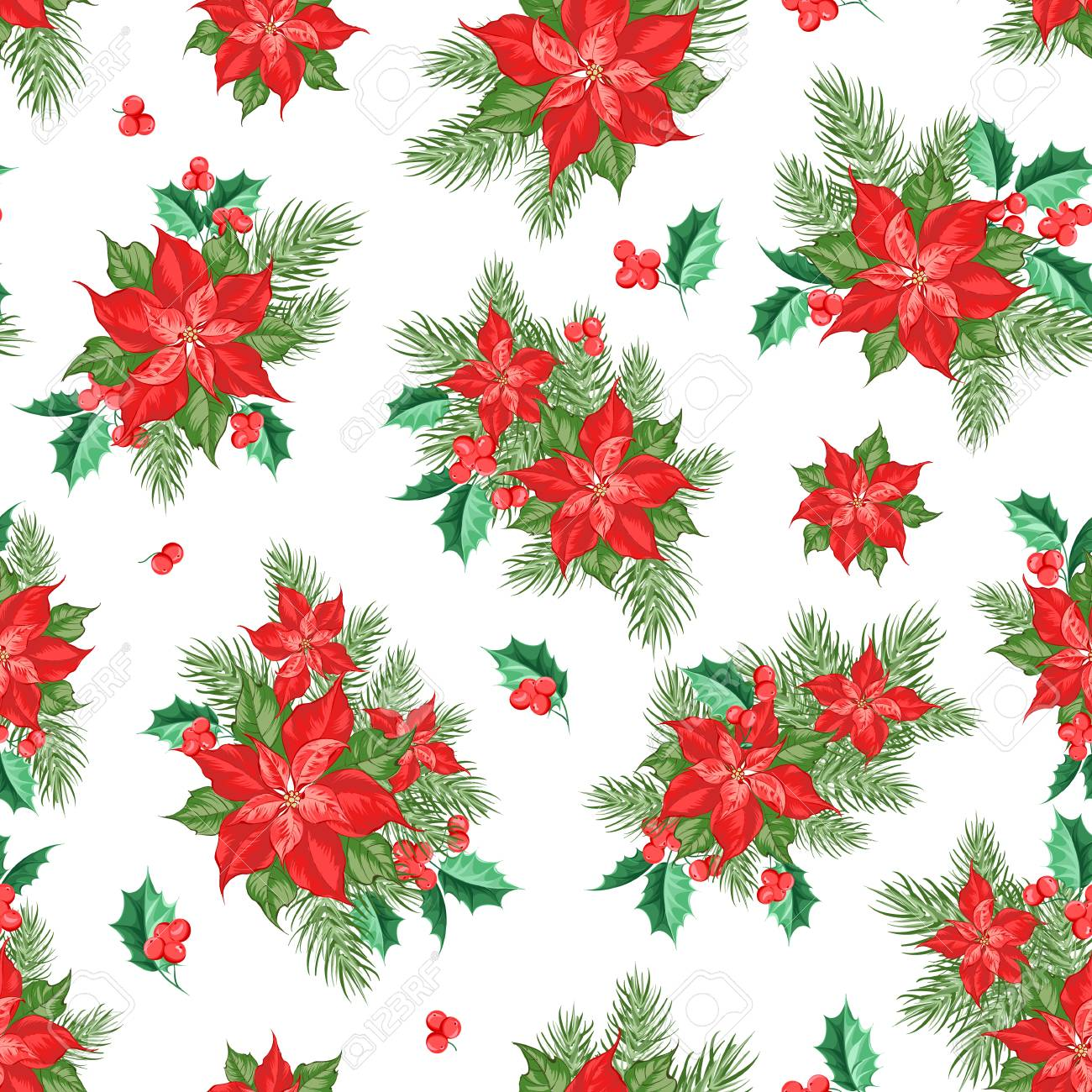 Red Poinsettia Flower Pattern Seamless Holiday Background With Royalty Free Cliparts Vectors And Stock Illustration Image 128488494