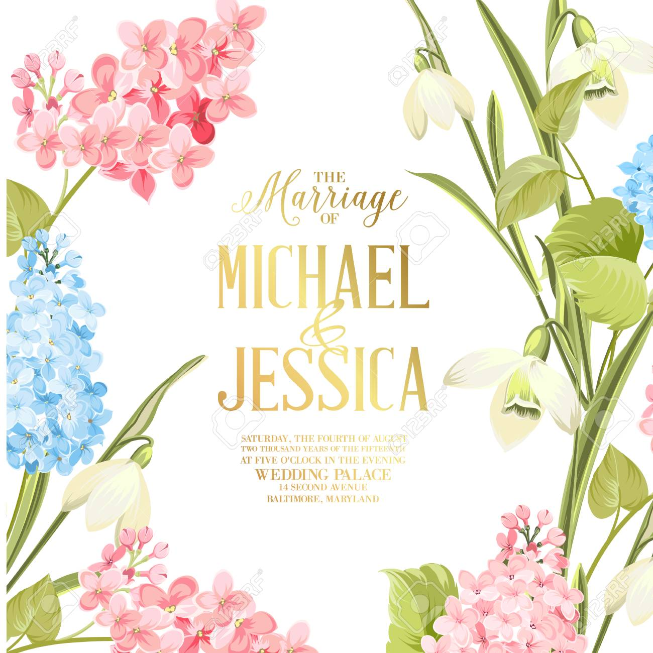 Marriage Invitation Card Wedding Invitation With Spring Flowers