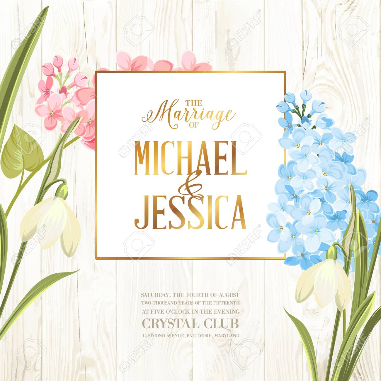 Marriage Invitation Card Wedding Card With Spring Flowers Bridal