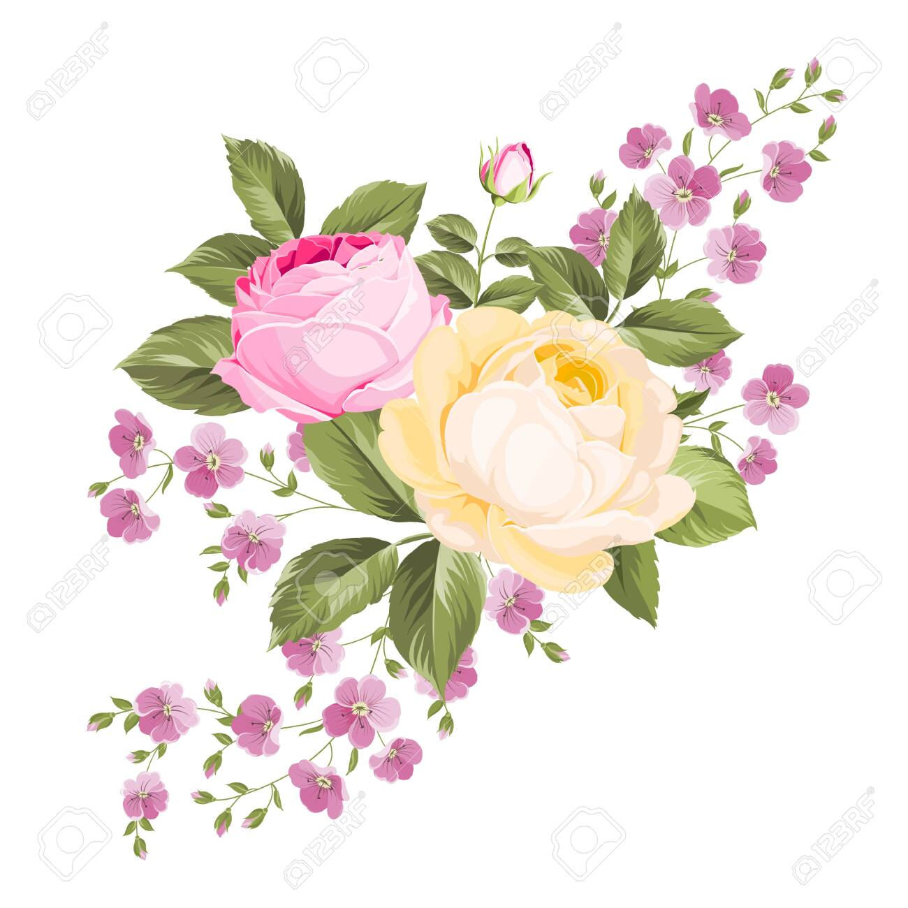 Spring flowers bouquet of color bud garland. Label with rose flowers. Vector illustration. - 128488544