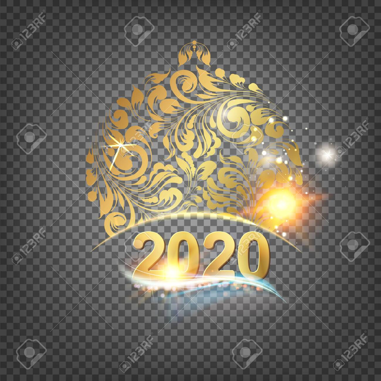 Christmas 2020 Graphic Transparent Golden Christmas Sphere Decoration With Glitter And Sign 2020