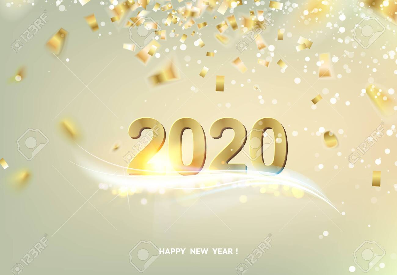 Happy new year card over gray background with golden confetti. Text sign 2020 year. Vector illustration. - 128488553