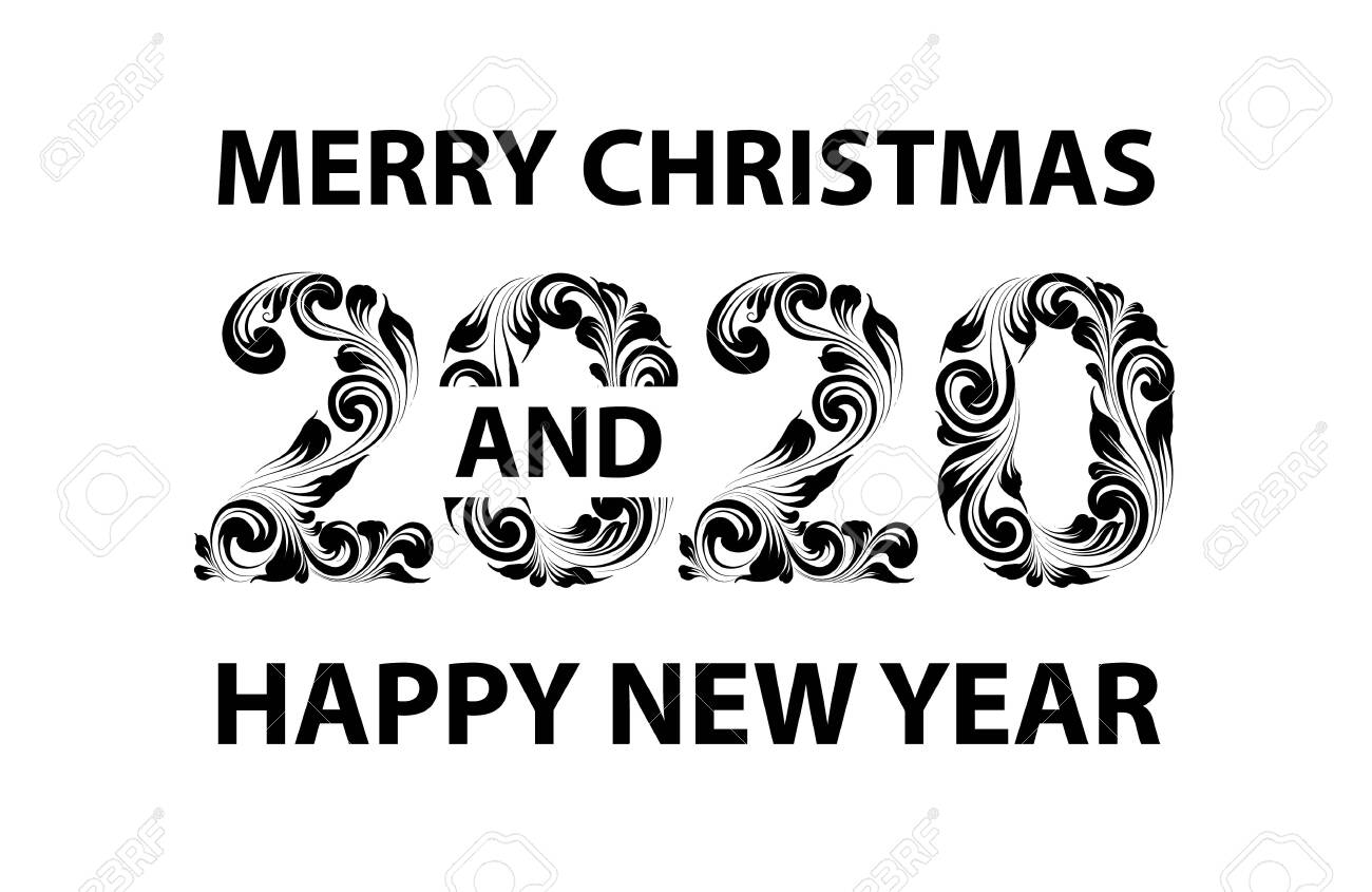2020 Christmas White Background Christmas Card With Calligraphic Text Over White Background