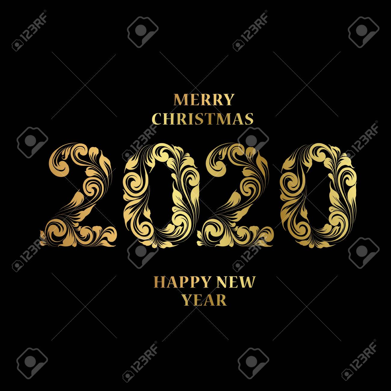 Christmas Card With Calligraphic Text Over Black Background Royalty Free Cliparts Vectors And Stock Illustration Image 128488576