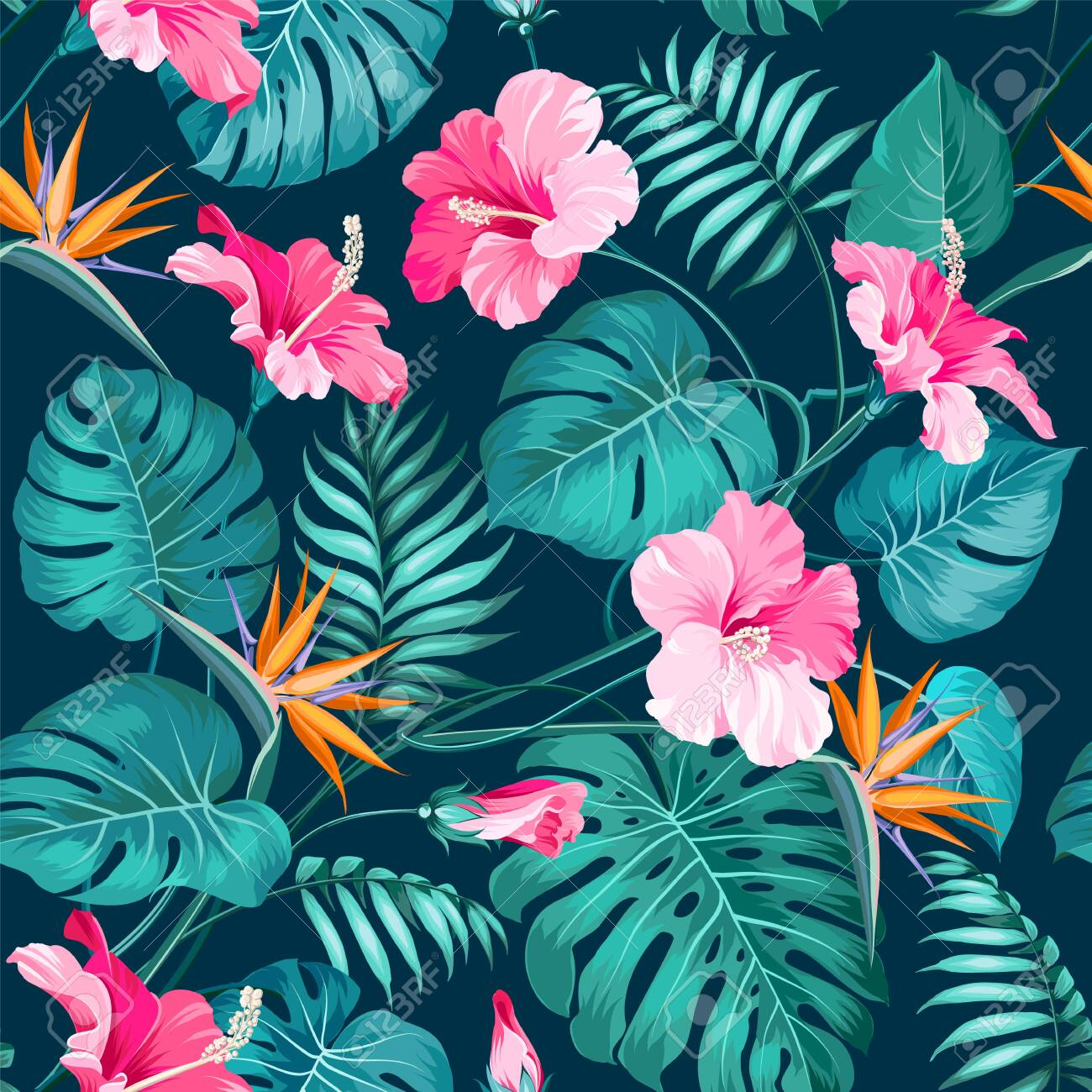 Blossom flowers for seamless pattern background. Tropical flower fashion pattern. Tropic flowers for nature background. Vector illustration. - 146019951