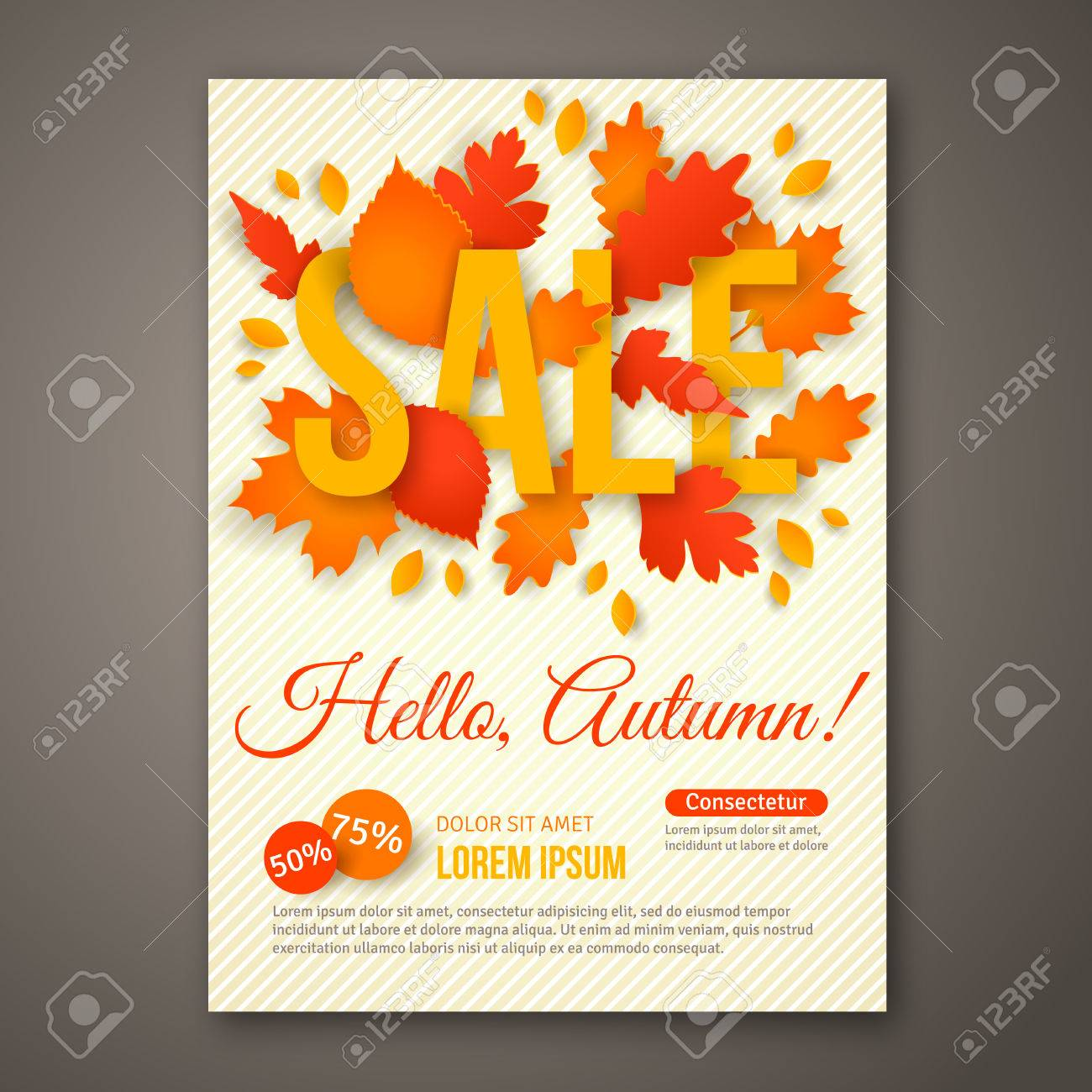 autumn sale flyer design with colorful leaves royalty free cliparts