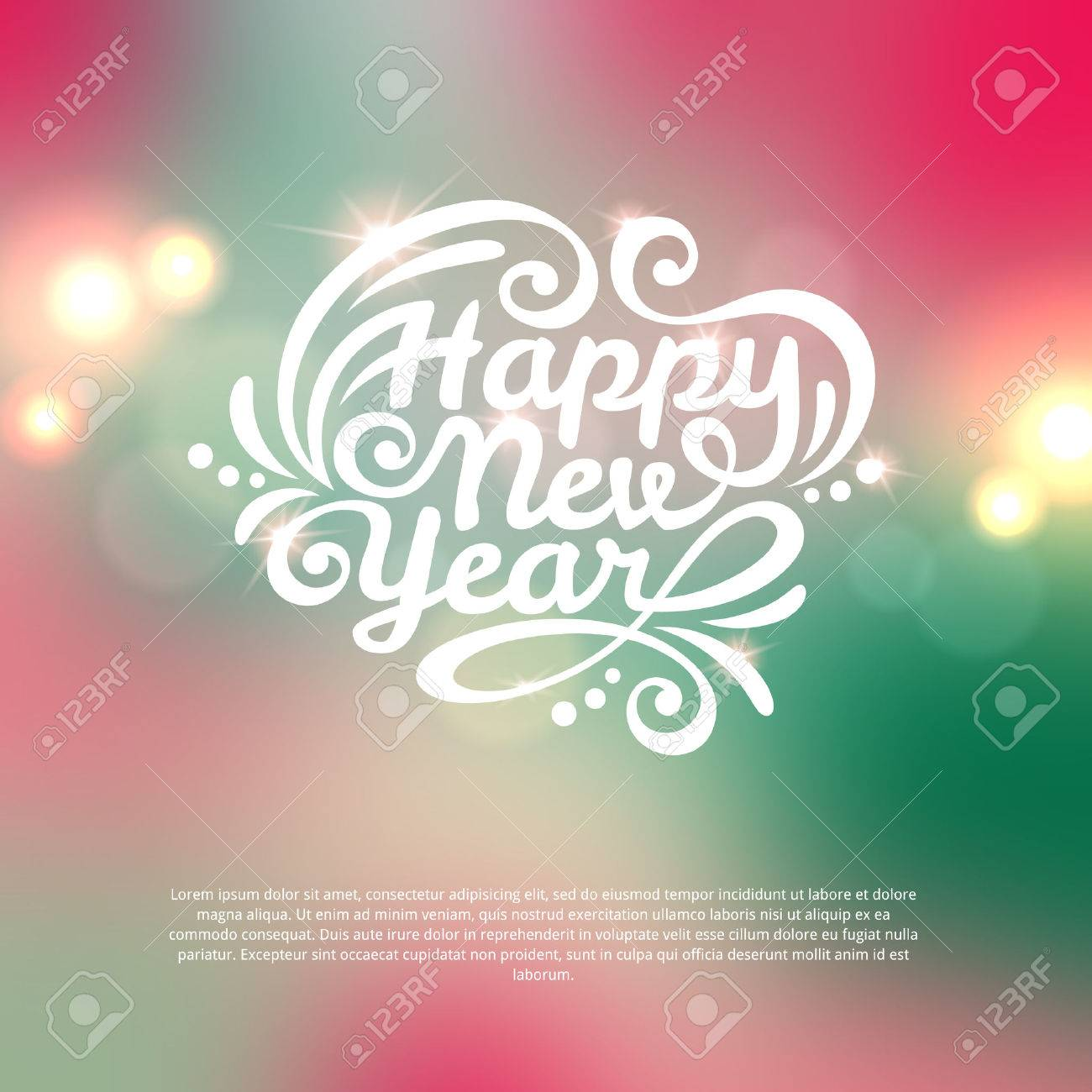 Happy new year lettering greeting card vector illustration happy new year lettering greeting card vector illustration blurred background with lights stock m4hsunfo